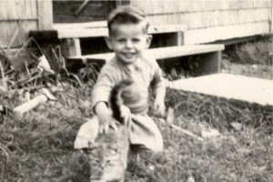 jim petting cat in 1952