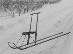 scandinavian kicksled on snow