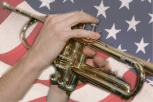 trumpet and flag photo